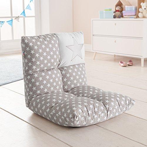 howa 2 in 1 Kindersessel + Kinderliege - Lehne 6 fach verstellbar 8602 grau/weiß