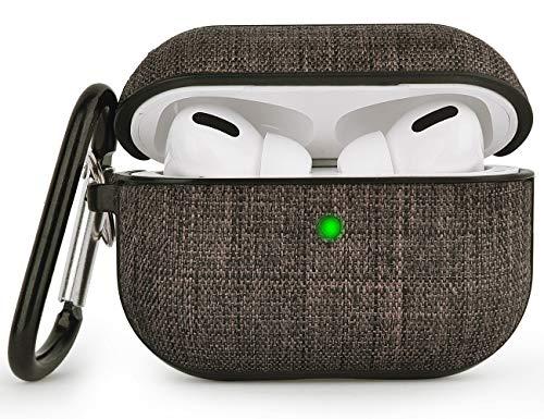 V-MORO Tuch with PC Airpods Pro Hülle Kompatibel mit Apple AirPods Pro Wireless Hülle Case (LED an der Frontseite sichtbar) - [Unterstützt Kabelloses Laden] [Extra Protection] (Dark Brown)
