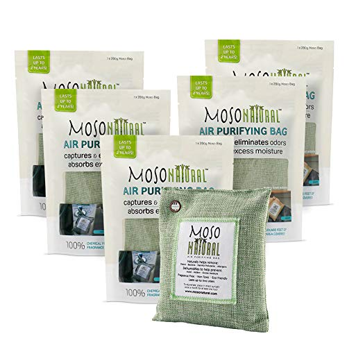MOSO NATURAL Air Purifying Bag 5 Pack. Bamboo Charcoal Air Freshener, Deodorizer, Odor Eliminator, Odor Absorber for Cars and Closets. 200g Green Color