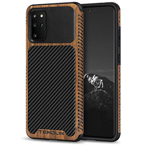 TENDLIN Compatible with Samsung Galaxy S20 Plus Case Wood Grain with Carbon Fiber Texture Design Leather Hybrid Case