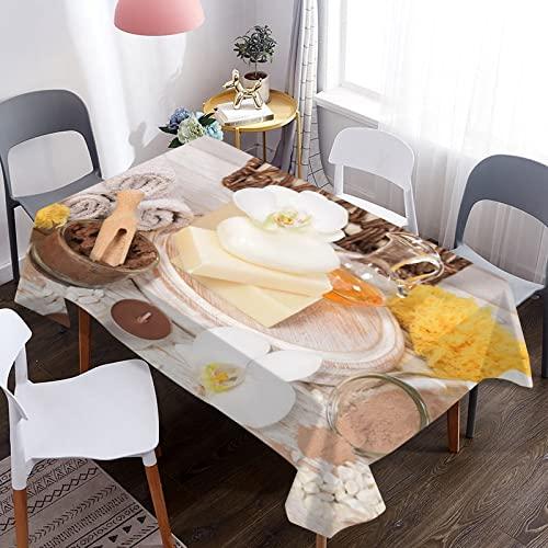 MJIA Tovaglia Decorativa con Stampa Candela aromatica, copritavolo Rettangolare Impermeabile, tovaglia da Cucina Domestica M-9 140x180cm