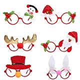 ZS-Juyi 6 Pieces Christmas Glitter Party Glasses Christmas accessories Christmas Easter Day Novelty Glasses Eyeglasses Party Glasses Frame for Holiday Favors Gifts for Kids,Women,Men