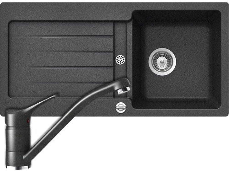 Naber Icon 1 Set-1 inkl. HD- Armatur. Einbauspüle, Composite, granit onyx