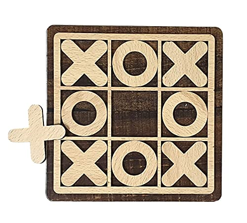 KIZLYER Wooden Tic Tac Toe and 0 X Family Best Enjoyment Board Game, Traditional Challenging for Friends Tour, Party,Indoor, Outdoor,Time Spend Zero Naught & Cross Board Game for Kids (6 x 6 Inch)