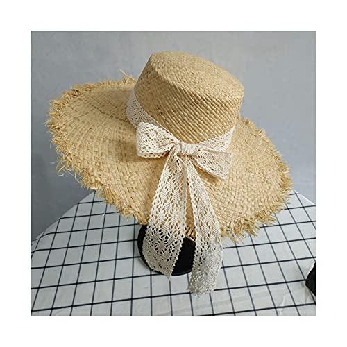 liushop Sombrero para el Sol Mujeres Paja Sombreros Sol Grandes Amplios Gilrs Gilrs Natural Rafia Flat Top Petra Paja Sunhat Caps para Vacaciones Sombrero de Playa (Color : 3, Size : M)