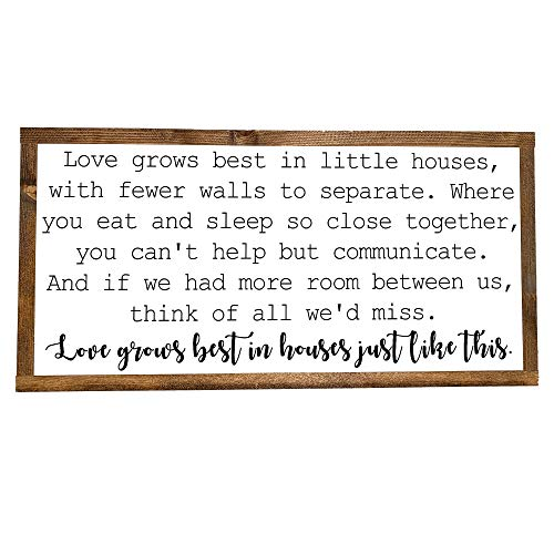 Love Grows Best In Little Houses - Framed Wood Sign, 12 inches by 24 inches, FARMHOUSE STYLE WOOD SIGN, RUSTIC WALL DECOR, HANGING HOME DECORATION GIFT