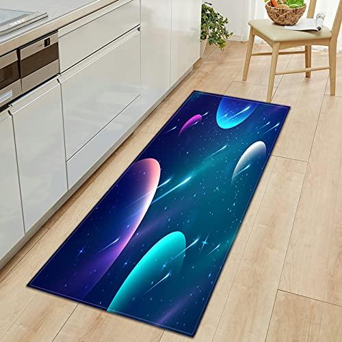 OPLJ 3D Universo Cielo Estrellado patrón Lavable Antideslizante Alfombra de Cocina Alfombra de Puerta de Entrada hogar Dormitorio Piso Alfombra A14 40x120cm