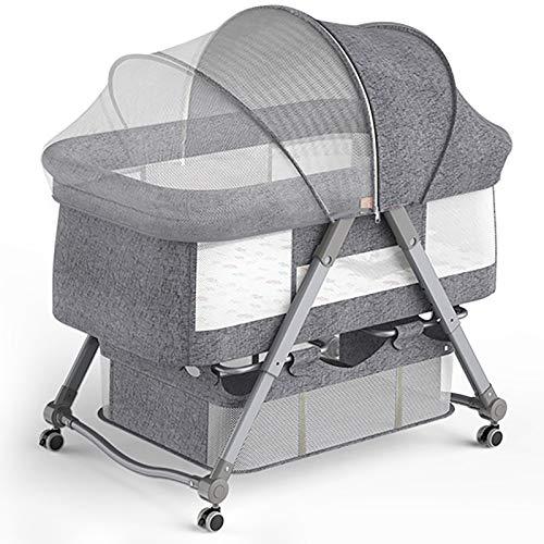 Smart panda 4 en 1 Mini Cuna para Bebés, Cuna, Hamaca, Incluye diseño Acolchado de diseño, mosquitera de sombrilla, Canasta de Almacenamiento, Adecuado para bebés de 0 a 24 Meses, Gray