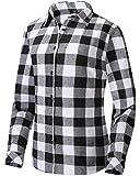 Uillnoodu Womens Flannel Plaid Shirts Long Sleeve Regular Fit Button Down Casual Cotton, White and Black Plaid, 2XL