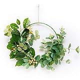 æ— Corona de aro floral, para colgar en la pared, con marco redondo de eucalipto, para manualidades, boda, hogar, oficina