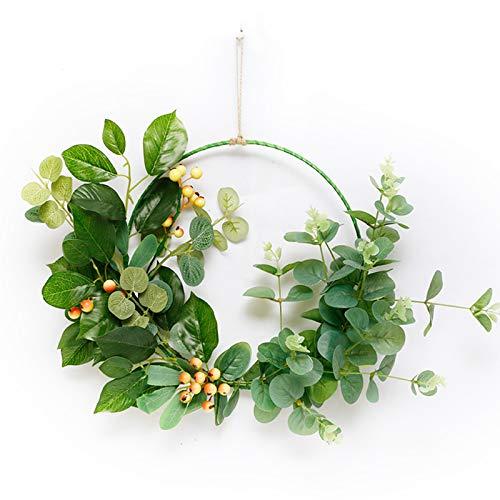 YIREAUD Corona de eucalipto verde, corona de aro floral de 45,72 cm para decoración de pared de alambre geométrico para decoración de pared