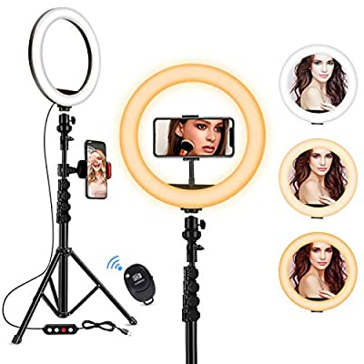 "Fostoy LED Ring Light, 10"" Selfie Ring Light with Tripod Stand and Phone Holder, Camera Circle Ringlight for Live Streaming, YouTube Video, Photography, and Makeup (Black) from Fostoy"