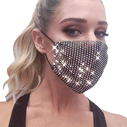 Rhinestone Mesh Fashion Màsc Halloween Face Bandanas Washable Reusable Masquerade Màsc for Women