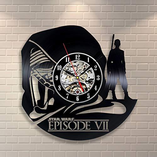 hniekhngwut Handgemachte Star Wars Vinyl Schallplatte Uhr Todesstern Hohle Retro Wanduhr Wohnkultur