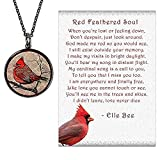 Lola Bella Gifts and Spirit Lala Cardinal Necklace with Backside ' Our Love Never Dies' and Red Feathered Soul Poem Card, Gift Box Grief Sympathy