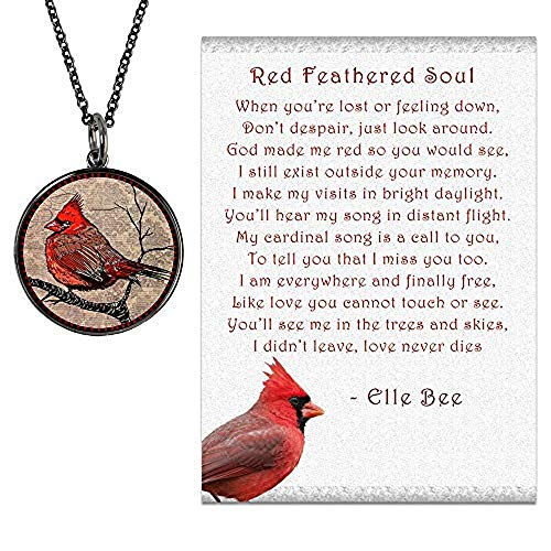 Lola Bella Gifts and Spirit Lala Cardinal Necklace with Backside Our Love Never Dies and Red Feathered Soul Poem Card, Gift Box Grief Sympathy