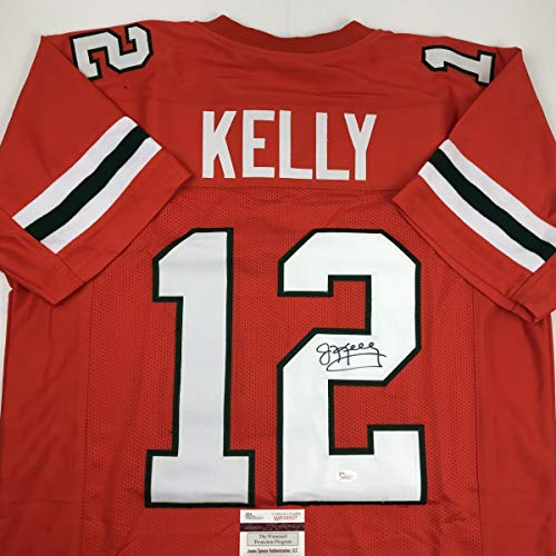 Autographed/Signed Jim Kelly Miami Orange College Football Jersey JSA COA