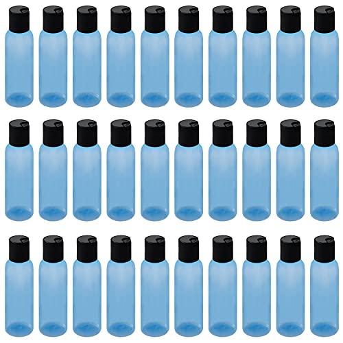 Belle Vous Botellas Plastico Azul (Pack de 30) 120 ml Botes Plastico Tapa de Disco - Botes Viaje Vacíos Rellenables para Cosméticos, Loción, Champú, Jabón Liquido, Crema y Más