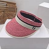 JUNQIAOMY Sombrero para el Sol Verano Sombrero Fresco Femenino Versión Coreana Moda Sombrilla Al Aire Libre Compras Montar Pequeño Sombrero de Paja Vacío Fresco (Color : Pink, Size : M 57cm)