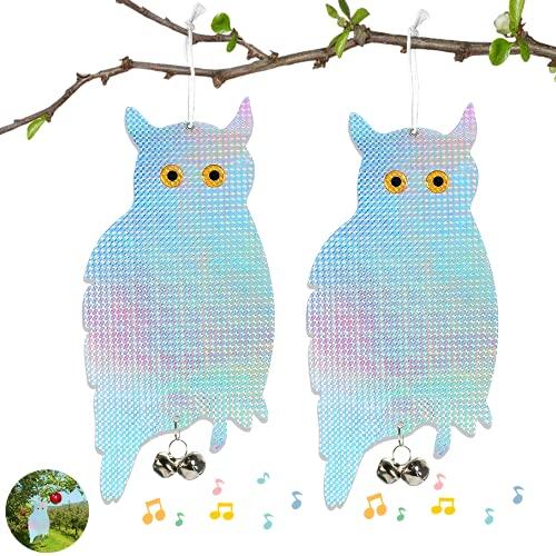 EKKONG 2Stück Vogelscheuchen-Eulen mit Glocken, vogelschreck,Vogelscheuche,ogelschreck vogelabwehr Vögel abzuwehren und sie vom Fenstergarten des Hauses fernzuhalten