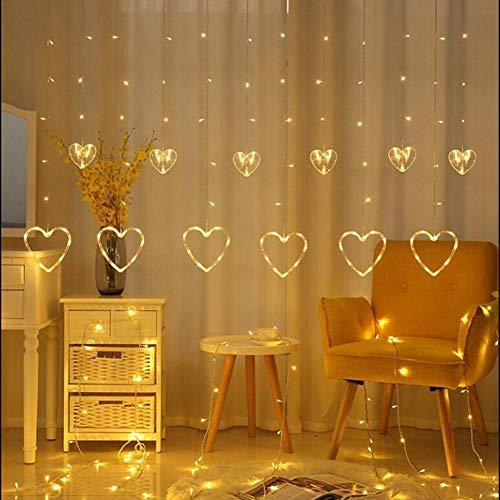 Nobrand Heart-Shaped gordijnvormige led-lichtsnoer, kerstdecoratie, Valentijnsdag. Slaapkamerdecoratie, zeer zacht en sfeer-instellend.