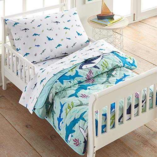 Wildkin 100% Cotton 4 Piece Toddler Bed-in-A-Bag, Bedding Set Includes Comforter, Flat Sheet, Fitted Sheet and Pillowcase, Certified Oeko-TEX Standard 100, BPA-Free, Olive Kids(Shark Attack) (624701)