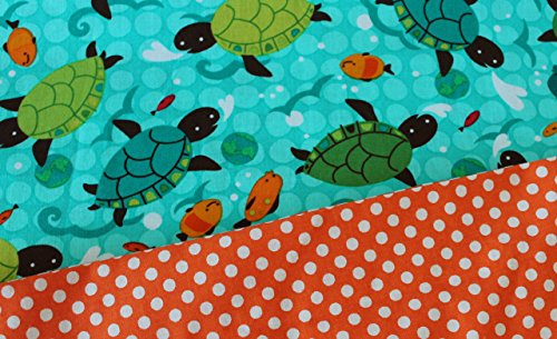 Standard Pillowcase in Sea Turtles and Polka Dots. Made With All Cotton Fabrics Beach Motif. Ready to Ship