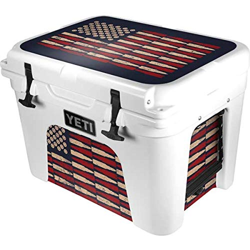 Skinit Decal Skin Compatible with YETI Tundra 35 Hard Cooler - Originally Designed Blue Bullet American Flag Design