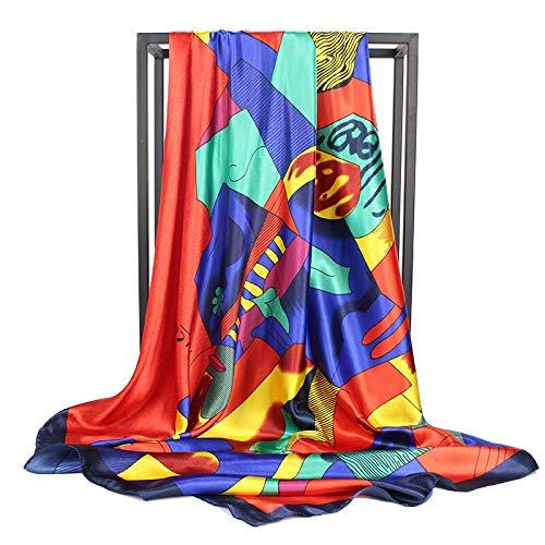 YDMZMS Fashion Zijde Sjaal Vrouwen Merk Satijn Sjaal Gevoel Zacht en Ziet er Glanzend Picasso Schilderen Hoofd Foulard Vierkante Sjaals 90cm