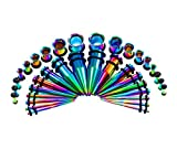Kjiasiw 36PCS Ear Gauge Stretching Kit Stainless Steel Tapers and Plugs Set Eyelet 14G-00G Body Piercing Jewelry (Rainbow)