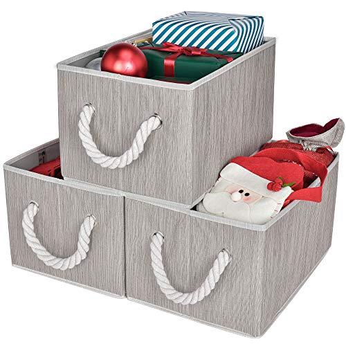 StorageWorks Decorative Storage Bins, Bathroom Storage Baskets with Cotton Rope Handles, Mixing of Gray, Brown & Beige, 3-Pack, Large