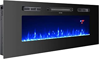 3GPlus 40 Inches Electric Fireplace Wall Recessed Heater Crystal Stone Flame Effect 3 Changeable Color Fireplace, with Remote, 1500 W - Black