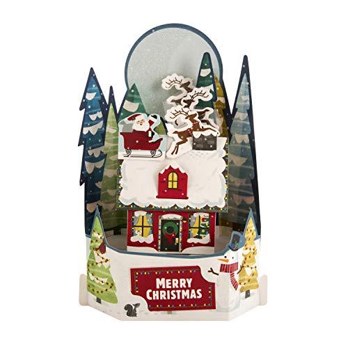 Pop-Up 3D Christmas Card from Hallmark - Paper Wonder Santa's On His Way Design