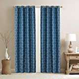 Home Beyond Jacquard Blackout Curtains 2 Panels -Thermal Insulated Grommet Top Room Darkening