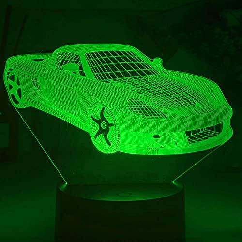 Jinson well Lámpara 3D para coche, ilusión óptica, luz nocturna, 7 cambios de color, interruptor táctil, lámpara decorativa con acrílico plano, ABS, cable USB, juguete