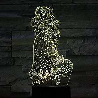 KUKULE USB 3D Led Night Light Decoration Girls Children Kids Baby Gifts 7 Color Changing Visual Table Lamp Princess Rapunzel