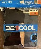 32 DEGREES Cool Men's Tee Shirt Short Sleeve Quick Dry Crew Neck Tee (XXL, Black-3pack)