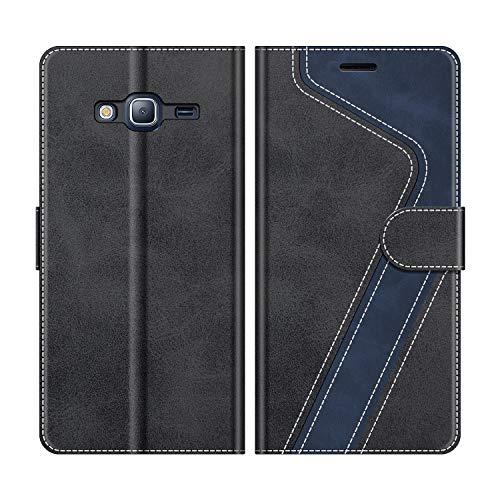 MOBESV Funda para Samsung Galaxy J3 2016, Funda Libro Samsung J3 2016, Funda Móvil Samsung Galaxy J3 2016 Magnético Carcasa para Samsung Galaxy J3 2016 Funda con Tapa, Negro