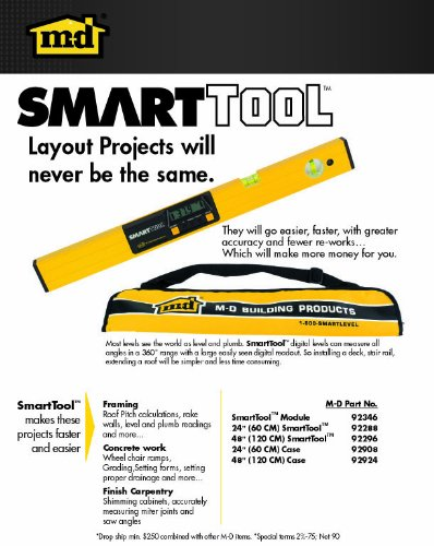 M-D Building Products 92325 48-Inch Smart Tool Digital Level with Carrying Case,Yellow powder coat rail and matte black module