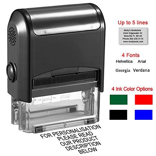 Personalisierte Stempel,Individueller Stempel-58x22 mm,bis zu 5 Zeilen Selbstfärbender Stempel Set für Name,Adresse,Hochzeit,Kinder,4 Tinte Farben-Schwarz, Rot, Blau, Grün