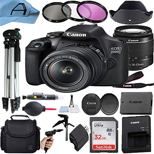 Canon EOS 2000D / Rebel T7 Digital DSLR Camera 24.1MP CMOS Sensor with 18-55mm Zoom Lens, SanDisk 32GB Memory Card, Case, Tripod, 3 Pack Filters and A-Cell Accessory Bundle (Black)