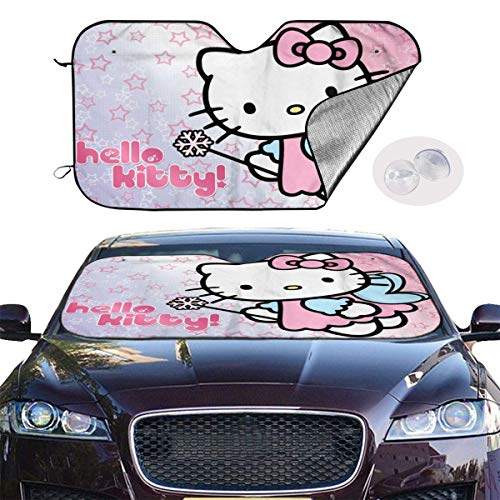 185 Parasol De Coche,Parasol De Ventana Delantera De Anime Hello Kitty, Reflectores De Sol De Protector De Coche Únicos para Vehículo Minivan,70x130cm