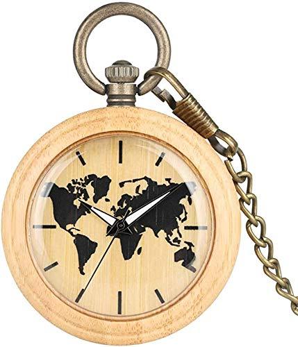 Atractivo y colorido reloj de cuarzo de bambú para mujer, clásico reloj de bolsillo de madera para dama, ligero reloj analógico con colgante de bambú, reloj de bolsillo natural con esfera grande y