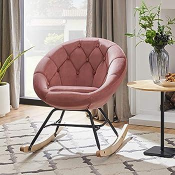 Volans Mid Century Modern Round Back Velvet Tufted Upholstered Rocking Chair Padded Seat for Living Room Bedroom Pink
