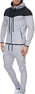Mens Tracksuit 2PC Set Gym Sweatshirt Top Pants Hooded Sports Suit