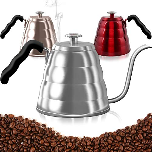 Pour Over Coffee Kettle with Thermometer-Flow Gooseneck Tea Kettles-Brew Barista-Standard Hand Drip Coffee Suitable all Stovetops and Induction,BPA Free, Holiday Home Valentine'sDay Gifts,40oz,Silver