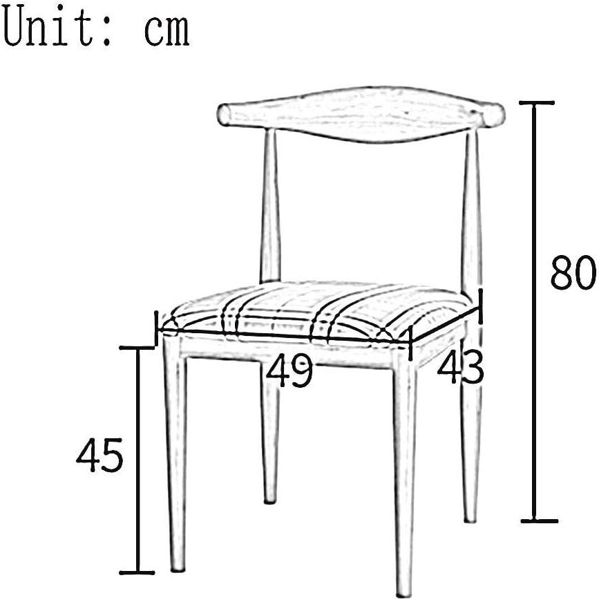 WHOJA Chaise Chaise de salle à manger Dossier courbé Éponge Armature de fer Forte capacité de charge 9 styles 49x43x80cm Chaises d'angle (Color : #7) #5