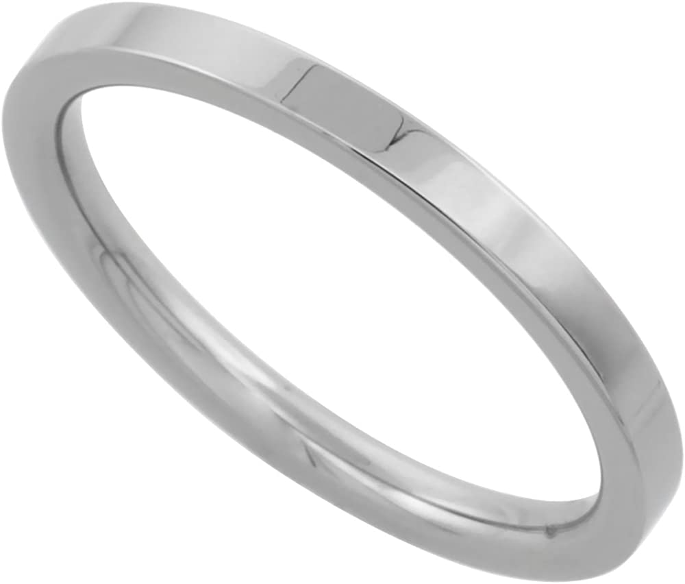Surgical Stainless Steel 2mm Wedding Band Thumb/Toe Ring Comfort-Fit High Polish, Sizes 1-12