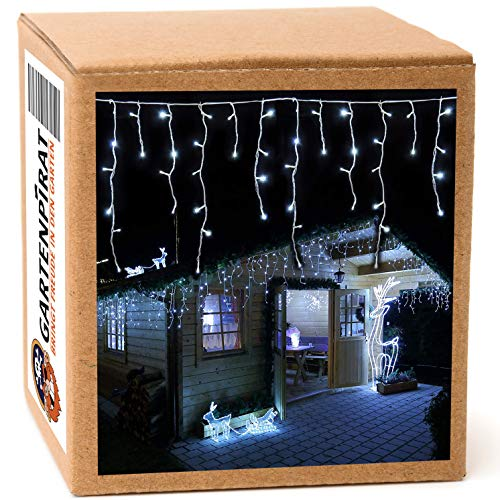 LED Eisregen Lichterkette 168 LED kaltweiß 4,2 m Weihnachten von Gartenpirat