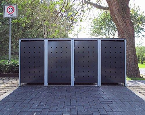 4 Mülltonnenboxen Modell No.2 Anthrazitgrau für 240 Liter Mülltonnen / witterungsbeständig durch Pulverbeschichtung / mit Klappdeckel und Fronttür
